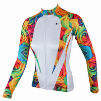 Rose Patterns Elegant Women's Long-Sleeve Cycling Jersey Women MTB Jerseys 224 -  Cycling Apparel, Cycling Accessories | BestForCycling.com
