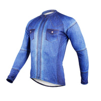 Mens Stylish Denim-blue Hidden-Zipper Long-sleeves Cycling Jersey  607 -  Cycling Apparel, Cycling Accessories | BestForCycling.com