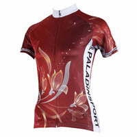 Ilpaladino Wine-color   Blooming Flower Women's  Quick Dry Short-Sleeve Cycling Jersey Biking Shirts Breathable Summer Sports Clothes NO.275 -  Cycling Apparel, Cycling Accessories | BestForCycling.com