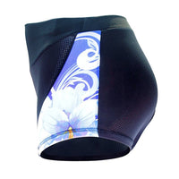 White Flowers Blue 3D Padded Cycling Underwear Shorts Bicycle Underpants Bike Biking Shorts Breathable Bicycle Pants Lightweight NO. SFK014