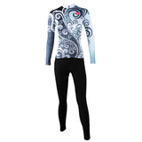 ILPALADINO Women's Long-Sleeves Bluish & Grey Orchid-decoration Cycling Apparel Outdoor Sports Leisure Biking Shirt Suit NO.324 -  Cycling Apparel, Cycling Accessories | BestForCycling.com