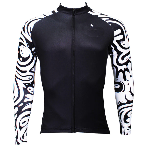 1a9b40dec Sale Men s Long-sleeved Cycling Jersey for Spring and Summer Zebra Pattern  Black Cycling Jersey