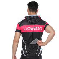 Pink-strip Dotted Black Outdoor Running Cycling Fitness Extreme Sports Mens T-shirts Hooded Short-sleeve Jacket Clothing and Riding Gear with Cap Quick dry Breathable NO. 822 -  Cycling Apparel, Cycling Accessories | BestForCycling.com