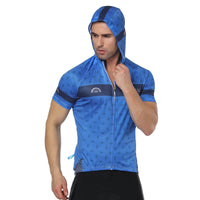 Prism Star Blue Outdoor Running Cycling Fitness Extreme Sports Mens T-shirts Hooded Short-sleeve Jacket Clothing and Riding Gear with Cap Quick dry Breathable NO. 823 -  Cycling Apparel, Cycling Accessories | BestForCycling.com