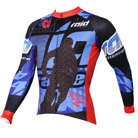 Men's Stylish Hidden-Zipper Long-sleeve Blue Cycling Jersey with Red-cuff Outdoor Bike Leisure Sport Shirt Winter Breathable Bicycle clothing(velvet) NO.383 -  Cycling Apparel, Cycling Accessories | BestForCycling.com
