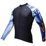 Nautilus Cool Graphic Blue Arm Print Men's Cycling Long-sleeve Black Jerseys NO.368 -  Cycling Apparel, Cycling Accessories | BestForCycling.com