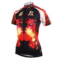 Ilpaladino Fire Flowers Women's Short-Sleeve Cycling Jersey Biking Exercise Bicycling Pro Cycle Clothing Racing Apparel Outdoor Sports Leisure Shirts Breathable Summer Clothes NO.589 -  Cycling Apparel, Cycling Accessories | BestForCycling.com