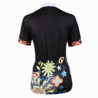 Ilpaladino Chrysanthemum patterned Women's Summer Short-Sleeve Cycling Jersey Biking Shirts Breathable Sport Black Clothes NO.214 -  Cycling Apparel, Cycling Accessories | BestForCycling.com