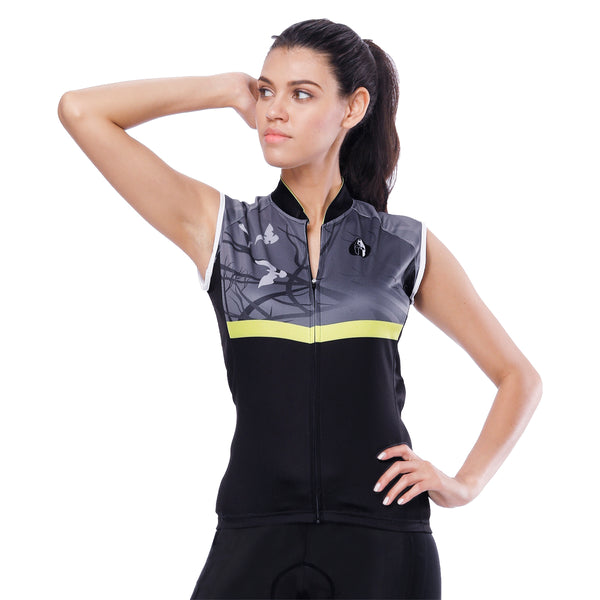 Dark Forest Yellow-strip Women's Cycling Sleeveless Bike Jersey T-shirt Summer Spring Road Bike Wear Mountain Bike MTB Clothes Sports Apparel Top Black Grey NO. 789 -  Cycling Apparel, Cycling Accessories | BestForCycling.com