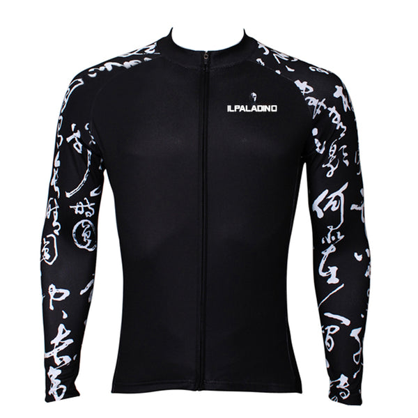 Chinese Poetry Handwriting Cool Graphic Arm Print Men's Cycling Long-sleeve Black Jerseys NO.400 -  Cycling Apparel, Cycling Accessories | BestForCycling.com