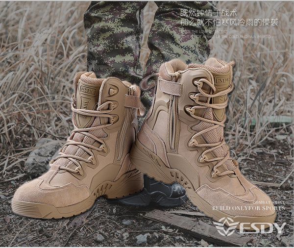 ESDY Mens Outdoor Wild Survive Desert Hiking Climbing Training High Caravan Shoes Breathable Ankle Guard Boots Black/Khaki/Camo NO.C005 -  Cycling Apparel, Cycling Accessories | BestForCycling.com