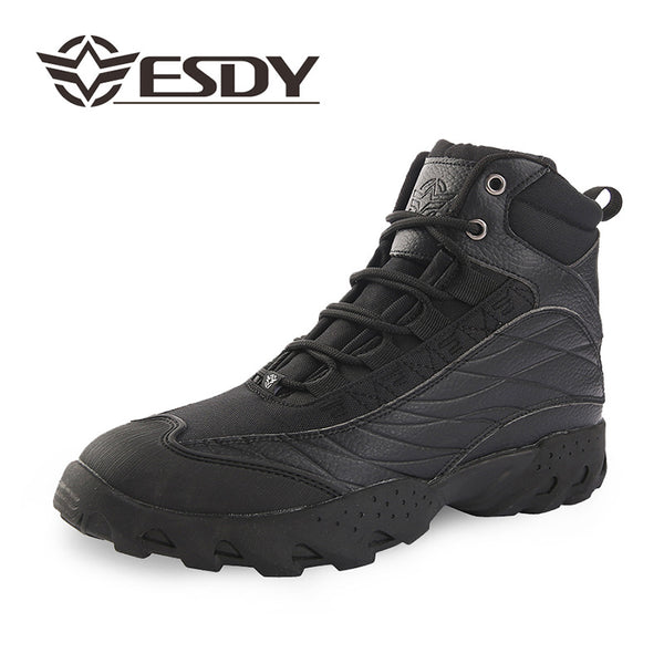 ESDY Mens Outdoor Desert Hiking Shoes Classic Wear-resistant Rubber Sole Nylon Boots Khaki/Black NO. C105 -  Cycling Apparel, Cycling Accessories | BestForCycling.com