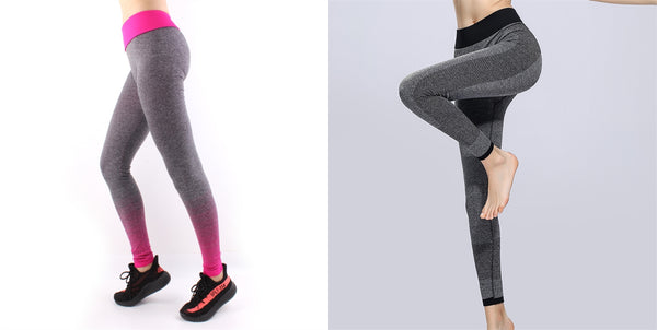 Woman High Waist Yoga Pants Sports Leisure Workout Tights Tummy Control Workout Gym Legging Tight Pink/Grey LA04
