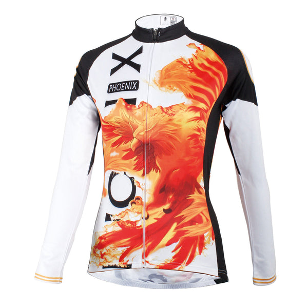Ilpaladino Red Phoenix Woman's Cycling Long-sleeve Jersey Spring Autumn Sportswear Apparel Outdoor Sports Gear NO.592