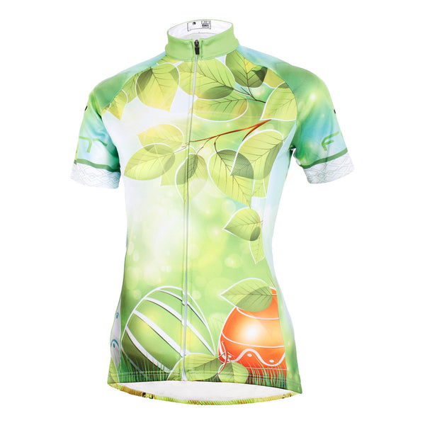 ... Ilpaladino Green Leaves Summer Women s Cycling Jersey Short Sleeve  Exercise Bicycling Pro Cycle Clothing Racing Apparel ... 72fa94233