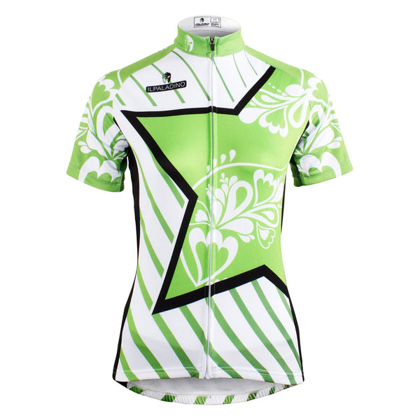 Ilpaladino Green Star Diagonal Women Cycling Jerseys Short-sleeve Summer Spring Sportswear Gear Pro Cycle Clothing Racing Apparel Outdoor Sports Leisure Biking Shirt NO.586 -  Cycling Apparel, Cycling Accessories | BestForCycling.com