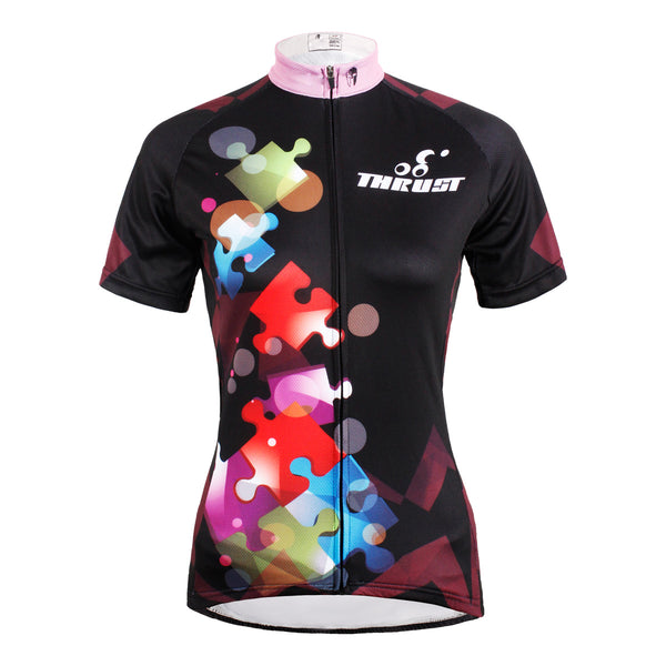 ILPALADINO Puzzle Pink-collar Black Women Cycling Jerseys Short-sleeve Summer Spring Sportswear Gear Pro Cycle Clothing Racing Apparel Outdoor Sports Leisure Biking Shirt NO.588 -  Cycling Apparel, Cycling Accessories | BestForCycling.com
