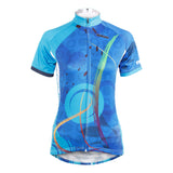 Ilpaladino Blue Patterned Women's Summer Quick Dry Short-Sleeve Cycling Jersey Biking Shirts Breathable Apparel Outdoor Sports Gear Clothes  NO.593 -  Cycling Apparel, Cycling Accessories | BestForCycling.com