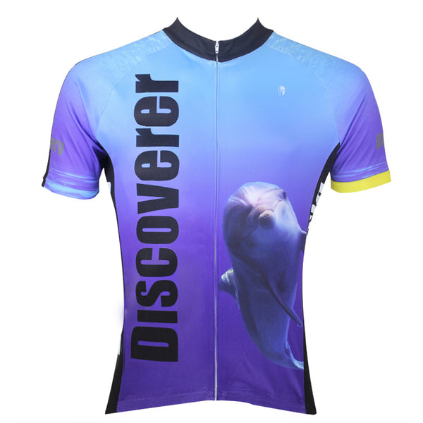 [Discoverer series ] llpaladino Shark Dolphin Nature Blue Short-sleeve Cycling Suit/Jersey Jacket- Summer Spring Clothes Sportswear Pro Cycle Clothing Racing Apparel Outdoor Sports Leisure Biking T-shirt NO.304