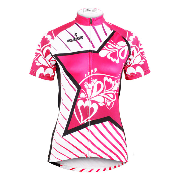 Ilpaladino Pink Star Diagonal Women's Summer Short-Sleeve Cycling Jersey Biking Shirts Breathable  Quick Dry Sport Clothes NO.604 -  Cycling Apparel, Cycling Accessories | BestForCycling.com