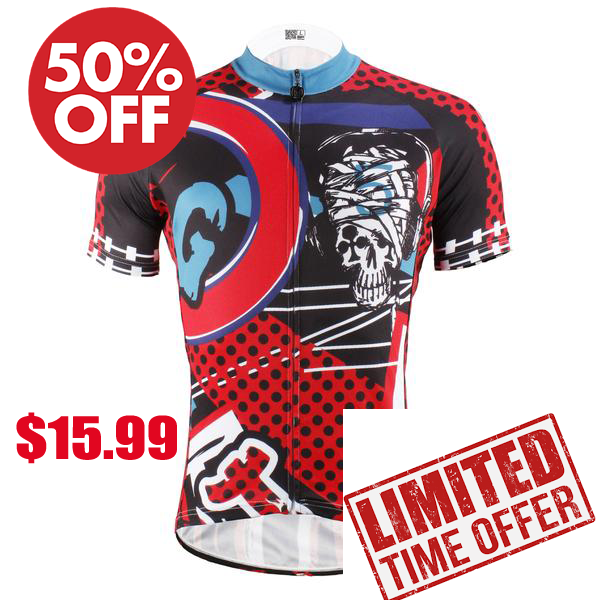 Injury Rock Skull Red Cycling Short Sleeve Jersey Biking Shirts 615 -  Cycling Apparel, Cycling Accessories | BestForCycling.com