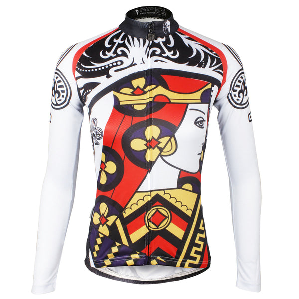 ILPALADINO Playing Cards Poker Face Clubs Queen Women's Long Sleeves Cycling Jerseys Bike Shirt Outdoor Sports Gear Leisure Biking T-shirt Sports Clothes Face Cards Court Cards NO.640 -  Cycling Apparel, Cycling Accessories | BestForCycling.com