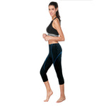 Women Premium 3D Padded Breathable ¾ Cycling Tights - Blue Line
