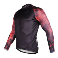Fire Flame Cool Graphic Arm Print Men's Cycling Long-sleeve Black Jerseys NO.384 -  Cycling Apparel, Cycling Accessories | BestForCycling.com