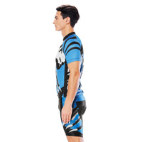 Wolverine Wolf Blue Men's Cycling Short-sleeve Jersey/Suit Exercise Bicycling Pro Cycle Clothing Racing Apparel Outdoor Sports Leisure Biking Shirts Team Summer Kit NO. 811