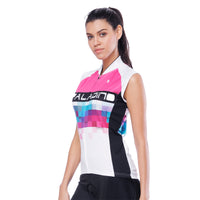 Pink Blue Mosaic Women's Cycling Sleeveless Bike Jersey T-shirt Summer Spring Road Bike Wear Mountain Bike MTB Clothes Sports Apparel Top NO. 788