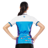 Sea and Fish White Blue Purple Women's Cycling Short-sleeve Bike Jersey/Kit T-shirt Summer Spring Road Bike Wear Mountain Bike MTB Clothes Sports Apparel Top / Suit NO. 796