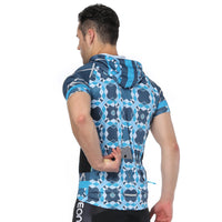 Blue Phantoscope Outdoor Running Cycling Fitness Extreme Sports Mens T-shirts Hooded Short-sleeve Jacket Clothing and Riding Gear with Cap Quick dry Breathable NO.819 -  Cycling Apparel, Cycling Accessories | BestForCycling.com