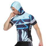 Geometry Blue Outdoor Running Cycling Fitness Extreme Sports Mens T-shirts Hooded Short-sleeve Jacket Clothing and Riding Gear with Cap Quick dry Breathable NO.820 -  Cycling Apparel, Cycling Accessories | BestForCycling.com