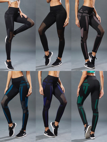 Women's Knees Mesh High Waist Yoga Pants Workout Gym Pants Leggings  LWF01