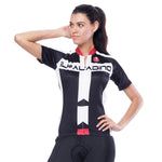 Red-collar White-strip Black Women's Cycling Short-sleeve Bike Jersey T-shirt Summer Spring Road Bike Wear Mountain Bike MTB Clothes Sports Apparel Top NO. 793