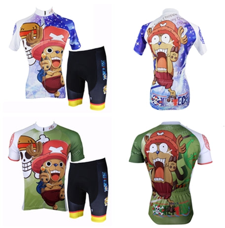 Woman& Man's ONE PIECE Series Pirates Tony Tony Chopper Short-sleeve Cycling Suit Jersey Team Jacket T-shirt Summer Spring Autumn Clothes Sportswear Anime Animation Manga Blue-nosed Reindeer NO.138 -  Cycling Apparel, Cycling Accessories | BestForCycling.com