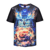 Night Owl Space Men's T-shirt Graphic 3D Printed Round-collar Short Sleeve Summer Casual Cool T-Shirts Fashion Top Tees DX802002# -  Cycling Apparel, Cycling Accessories | BestForCycling.com