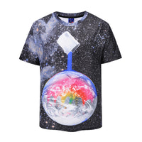 Color Paint the Earth Space Mens T-shirt Graphic 3D Printed Round-collar Short Sleeve Summer Casual Cool T-Shirts Fashion Top Tees DX802009# -  Cycling Apparel, Cycling Accessories | BestForCycling.com