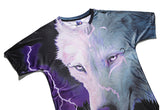 Flashing Lightning White Wolf Mens T-shirt Graphic 3D Printed Round-collar Short Sleeve Summer Casual Cool T-Shirts Fashion Top Tees DX803009# -  Cycling Apparel, Cycling Accessories | BestForCycling.com