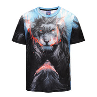 Lion Mens T-shirt Graphic 3D Printed Round-collar Short Sleeve Summer Casual Cool T-Shirts Fashion Top Tees DX801002# -  Cycling Apparel, Cycling Accessories | BestForCycling.com