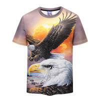 Eagle Hawk Mens T-shirt Graphic 3D Printed Round-collar Short Sleeve Summer Casual Cool T-Shirts Fashion Top Tees DX801008# -  Cycling Apparel, Cycling Accessories | BestForCycling.com
