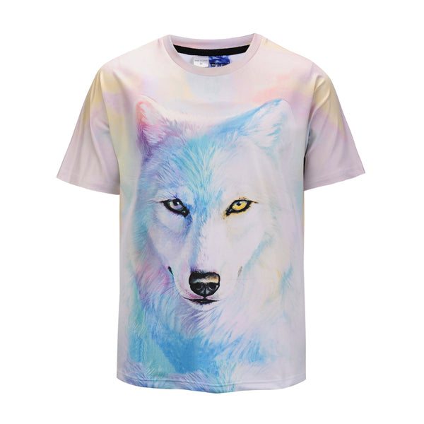 Snow Coloured Drawing Wolf White Mens T-shirt Graphic 3D Printed Round-collar Short Sleeve Summer Casual Cool T-Shirts Fashion Top Tees DX803018#