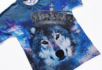 Imperial Crown Wolf Blue Mens T-shirt Graphic 3D Printed Round-collar Short Sleeve Summer Casual Cool T-Shirts Fashion Top Tees DX803020# -  Cycling Apparel, Cycling Accessories | BestForCycling.com