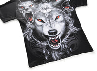 Red-eye Wolf Mens T-shirt Graphic 3D Printed Round-collar Top DX803023#