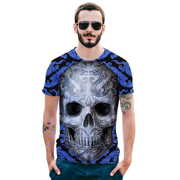 Skull Blue Mens T-shirt Graphic 3D Printed Round-collar Short Sleeve Summer Casual Cool T-Shirts Fashion Top Tees DX801007# -  Cycling Apparel, Cycling Accessories | BestForCycling.com