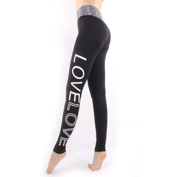 Woman LOVE Letter High Waist Yoga Pants Sports Leisure Workout Tights Tummy Control Workout Gym Legging Tight Black LA07