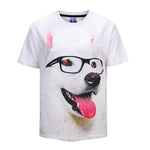 Lovely White Dog Tongue Out Mens T-shirt Graphic 3D Printed Round-collar Short Sleeve Summer Casual Cool T-Shirts Fashion Top Tees DX803026#