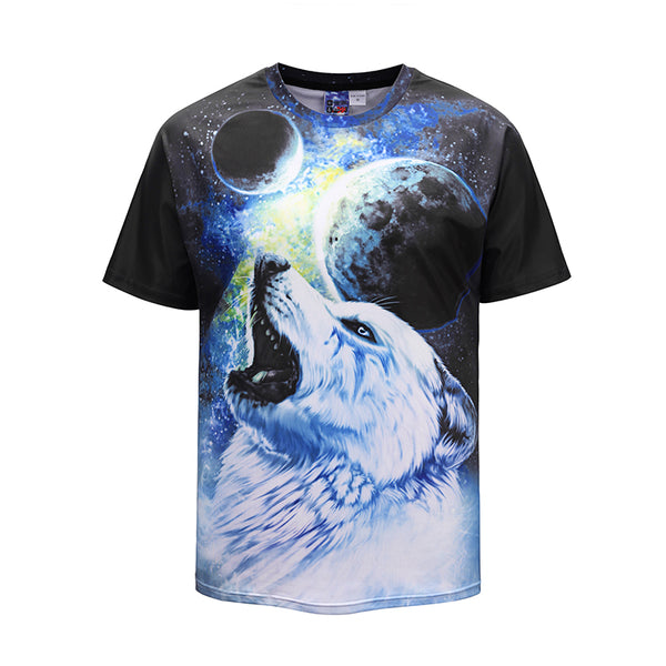 Moon White Wolf Black Mens T-shirt Graphic 3D Printed Round-collar Short Sleeve Summer Casual Cool T-Shirts Fashion Top Tees DX803032# -  Cycling Apparel, Cycling Accessories | BestForCycling.com