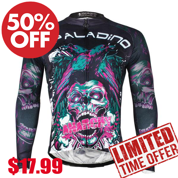 ILPALADINO Skull Men's  Long Sleeves Cycling Jersey Pro Cycle Clothing Racing Apparel Outdoor Sports Leisure Biking T-shirt NO.720 -  Cycling Apparel, Cycling Accessories | BestForCycling.com