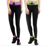 Woman PINK Letter High Waist Yoga Pants Sports Leisure Workout Tights Tummy Control Workout Gym Legging Tight Pink/ Black/ Yellow/ White Letter LA03